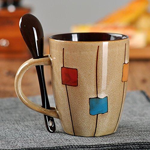 UUOUU Ceramic Coffee Mug Retro Drum Square Shaped Milk Cup with Spoon Tea Cup Mug Khaki ()