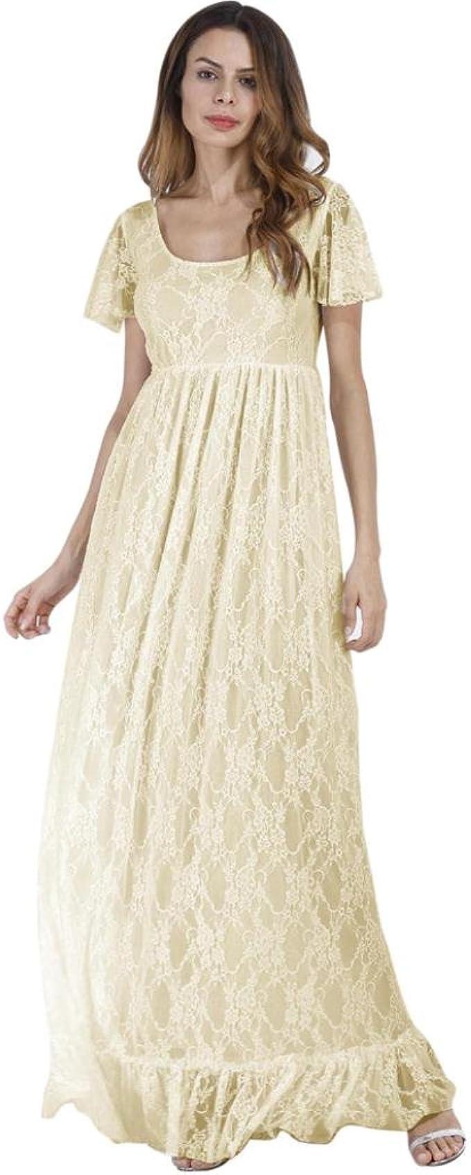 Amlaiworld Vintage Luxuriös Spitze cocktailkleid Damen Frühling Sommer  Strickkleid Mode lang Kleid elegant künstlerische Fotos Abendkleider  Schwangere