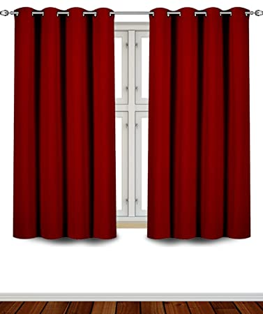 Curtains Ideas burgandy curtains : Amazon.com: Utopia Bedding Grommet Top Thermal Insulated Blackout ...