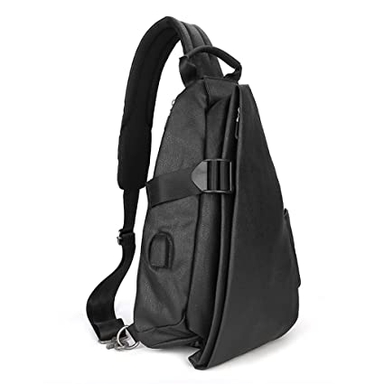 ca19a65d03d9 Image Unavailable. Image not available for. Color  XY CF Chest bag male  with USB charging port sling bag Messenger bag canvas men ...