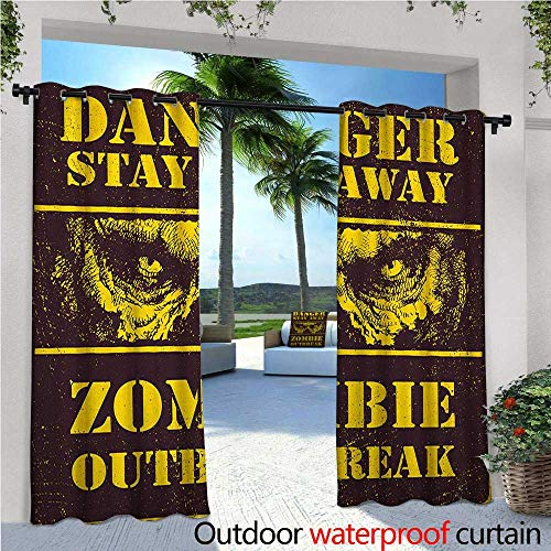 familytaste Zombie Exterior/Outside Curtains Danger Stay Away Outbreak Message Monster Warning Sign Graphic Design for Patio Light Block Heat Out Water Proof Drape W120 x L84 Chestnut Brown Yellow ()