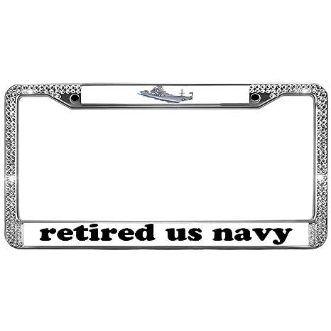 Screw Caps RETIRED US NAVY Glossy Black License Plate Frame