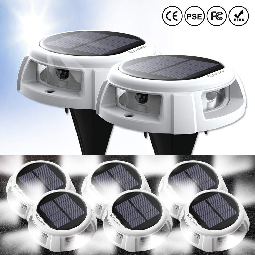 Solar Disk Lights, IC ICLOVER New Upgraded Solar Powered Ground Lights Outdoor with 4LEDs Auto Turn On/Off IP68 Waterproof Garden Light with 200Lumens for Driveway Step Stair Lawn Patio (8 Pack)