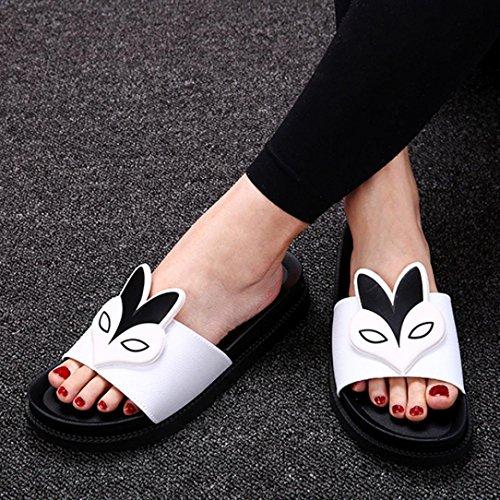 BZLine® Frauen Sommer Hausschuhe Flat Heels Sandalen Comfort Flat Schuhe Weiß