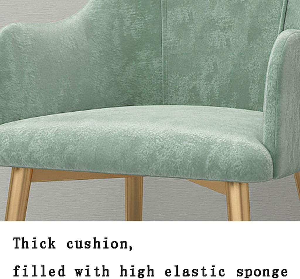 ZXZY Modern Dining Chairs, Mid Century Velvet Kitchen Side Chair, Upholstered Accent Chairs Leisure Cushion Living Room Makeup Seat Home (Color : Green) Brown