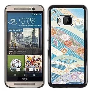 Be Good Phone Accessory // Dura Cáscara cubierta Protectora Caso Carcasa Funda de Protección para HTC One M9 // Sky Flowers Blue Tones