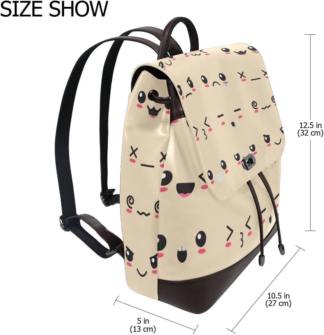 KUWT Cute Cartoon Face Emoji PU Leather Backpack Travel Shoulder Bag School College Book Bag Casual Daypacks Diaper Bag for Women and Girl