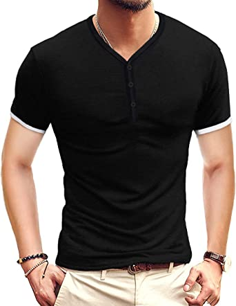 Keaac Men Fashion Casual Cotton Linen Short Sleeve Henley T-Shirt Hip hop Shirts
