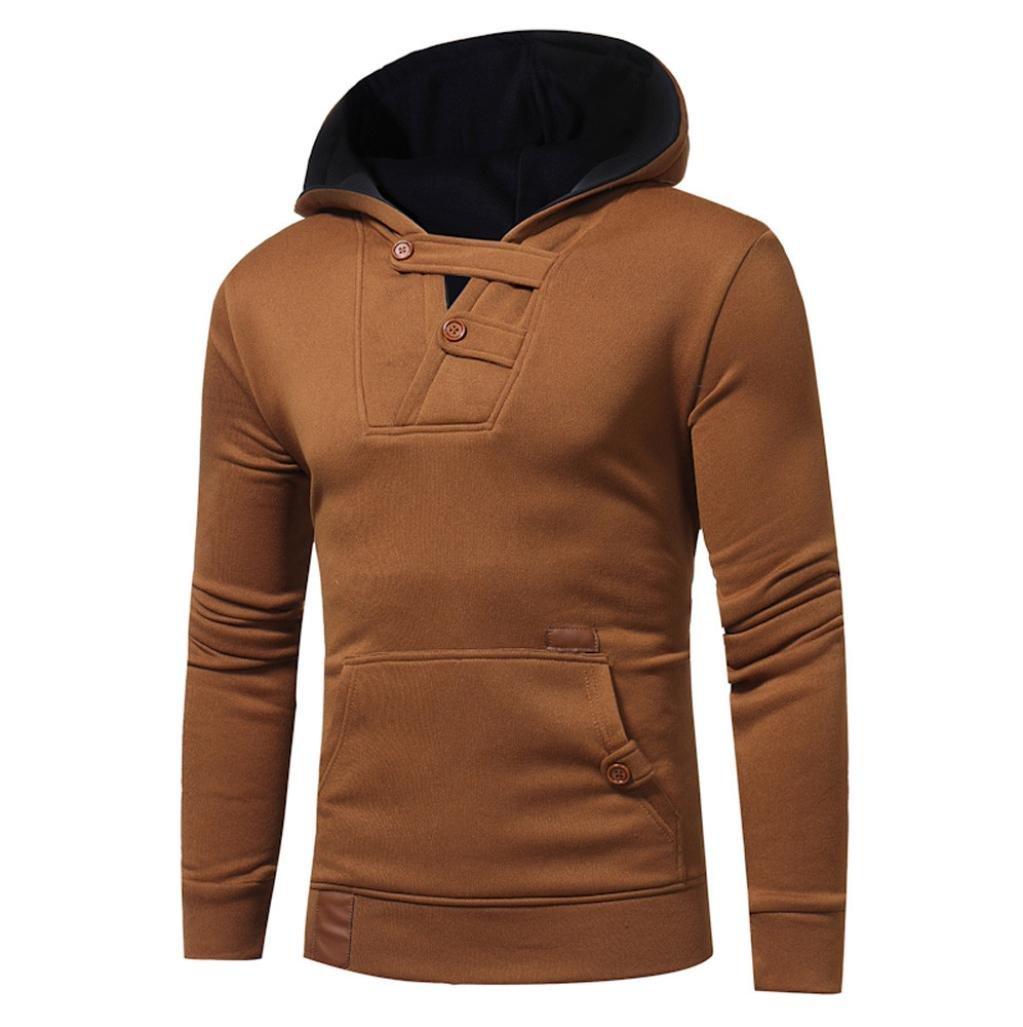 WM & MW Fashion Mens' Hoodies Long Sleeve Front Pocket Button Decor Hooded Pullover Jacket Sweatshirt Jumper Tops Coat (3XL=(US:2XL), Brown)