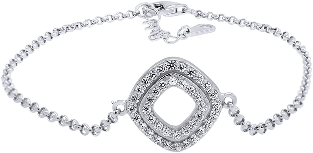 Wishrocks Christmas Holiday Sale Round Cut White Cubic Zirconia Square 7 Chain Bracelet in Sterling Silver