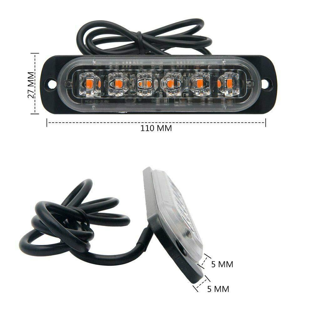 MASO Universal 4pcs 12 LED Recovery Strobe Warning Flashing Light Emergency Strobe Lights Breakdown Beacon Truck Car Lamp 12V//24V White Light