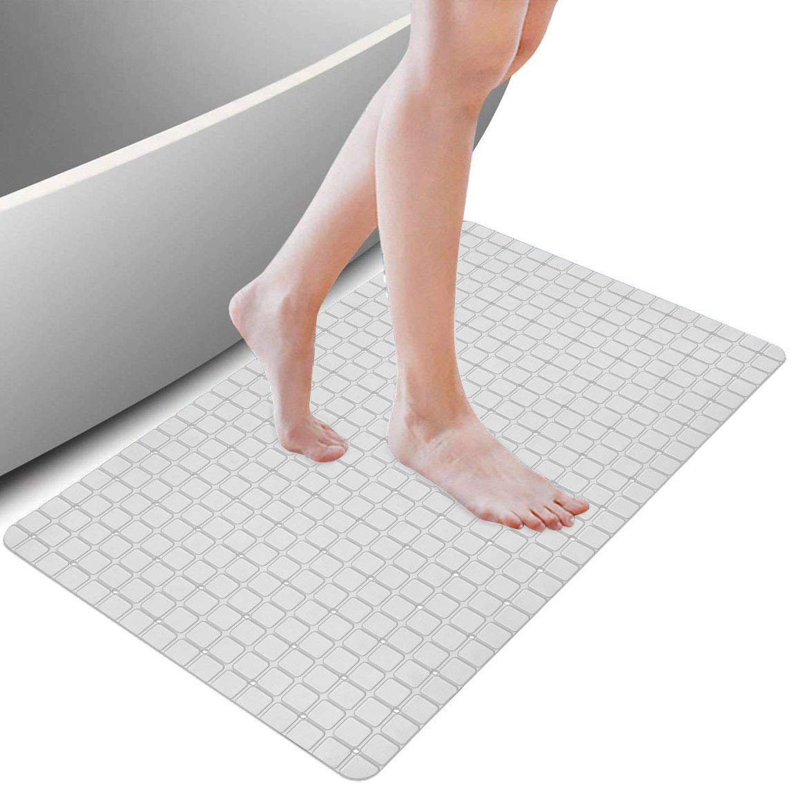 XIYUNTE Bath Mat Shower Safety Mats - Extra Long Non-Slip Bathtub Mats with Drain Holes (New-White)