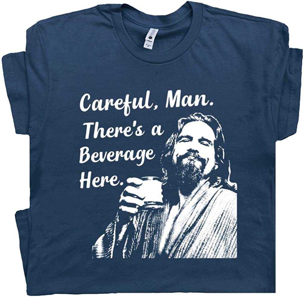 Big Lebowski T Shirt Funny Movie Quote Tee Vintage 90s The Dude Abides Careful Man There's a Beverage Here