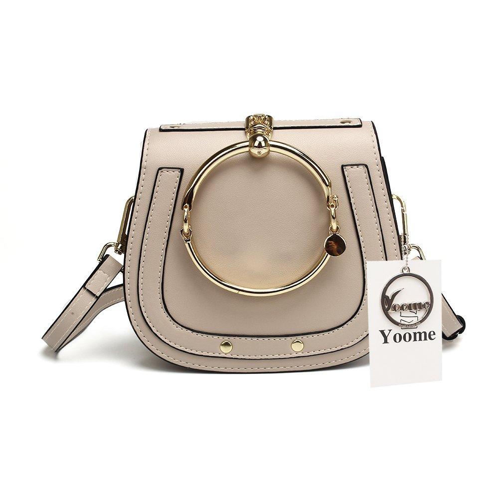Yoome Women Punk Circular Ring Handle Handbags Small Round Purse Crossbody Bags For Girls - Light Beige