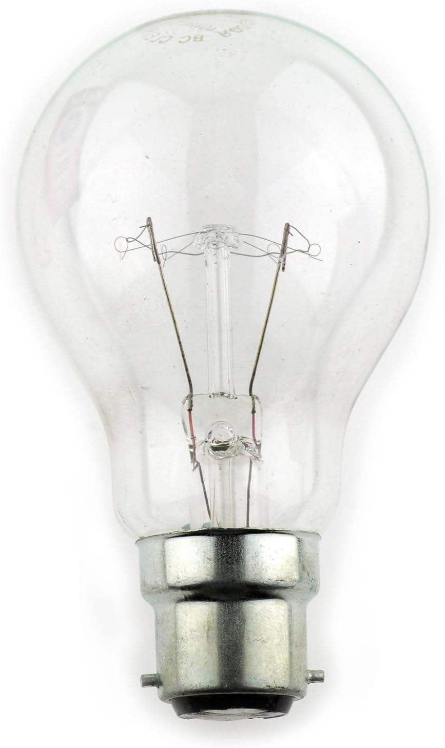 2x CROMPTON YELLOW  25W Coloured B22 BC Bayonet Lamp Light Bulb 240V Old Style