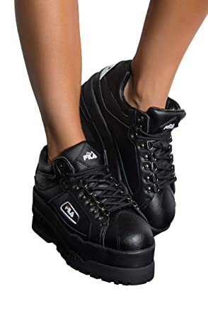 02e0275a9bbb Amazon.com  FILA Trailblazer Wedge Platform Sneaker In Black  Clothing