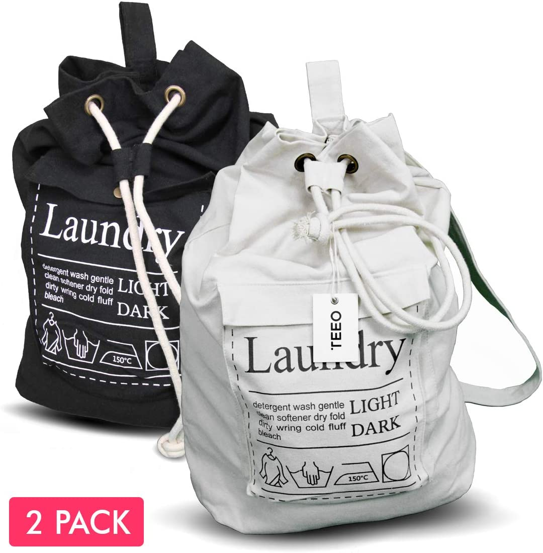 "Teeo [2-Pack] Laundry Bag Backpack Large Spacious 25""X20"" Drawstring 100% Sturdy Cotton Canvas with Strap for College Students Dorm Room Clothes Hamper Storage Washer Organizer (1, Black/White)"