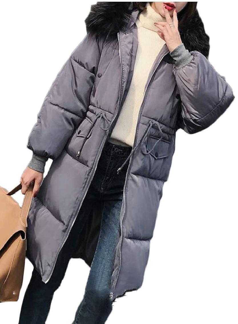 Gery Keaac Womens Warm Down Coat Faux Fur Hooded Parka Puffer Jackets Long Overcoat