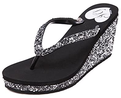 6f1db9f95 IDIFU Women s Sexy Sequined Platform Wedge Flip Flops High Heel Thong Beach  Sandals Black 4 B