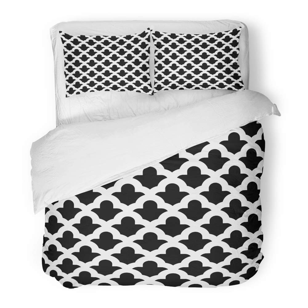 Emvency 3 Piece Duvet Cover Set Brushed Microfiber Fabric Quatrefoil Figures Oriental Traditional with Rounded Shapes Window Tracery Breathable Bedding Set with 2 Pillow Covers Twin Size