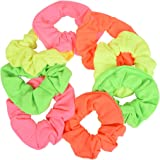 Set of 8 Neon Color Solid Scrunchies