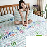 AMYDREAMSTORE Tencel air conditioning soft sleeping mat 1.8m bed three sets summer folded ice silk 1.5 meters mat for dormitory bedroom hotel-H Queen2