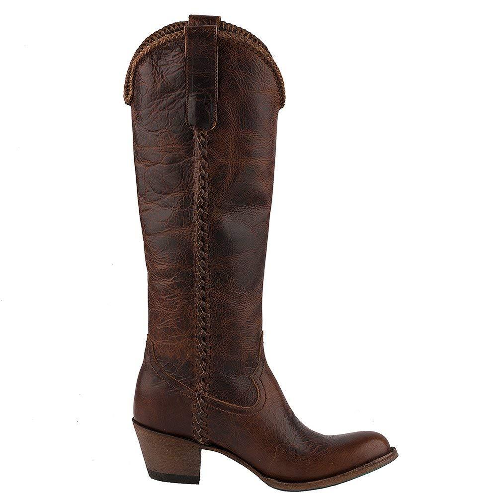 ceb16705dbf Lane Women's Plain Jane Dark Cognac Cowgirl Boot Round Toe