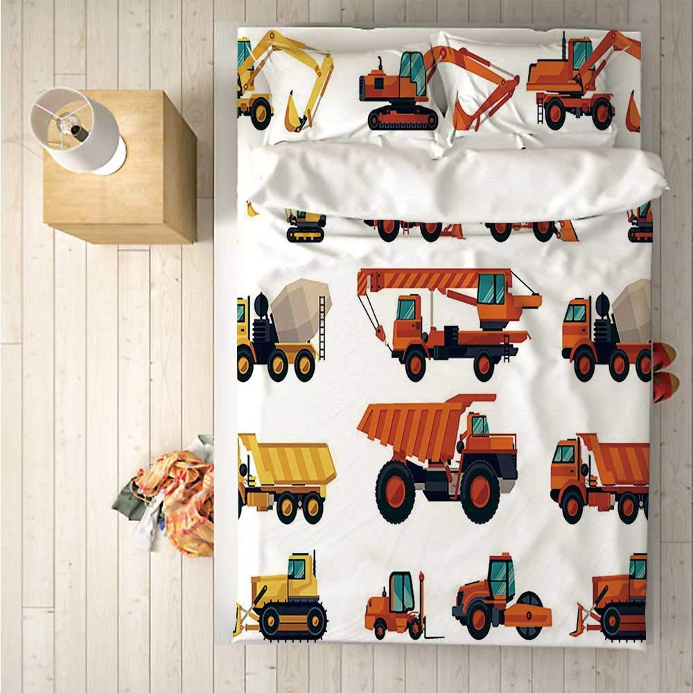 Construction Soft 4 Piece Bedding Set,Set of Construction Machinery and Equipment Transportation Careers Mechanics for Bedroom,One Side Print : Singe