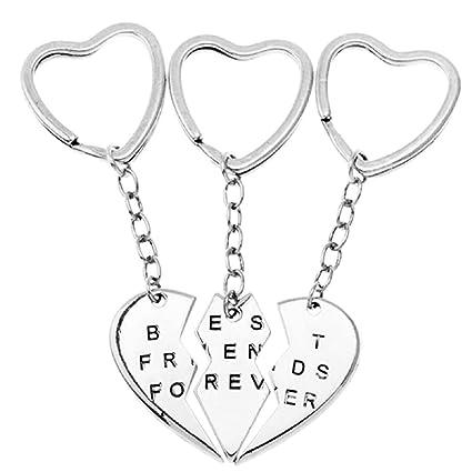 3 x Llavero corazón Dividido en 3 Piezas - Best Friends Forever