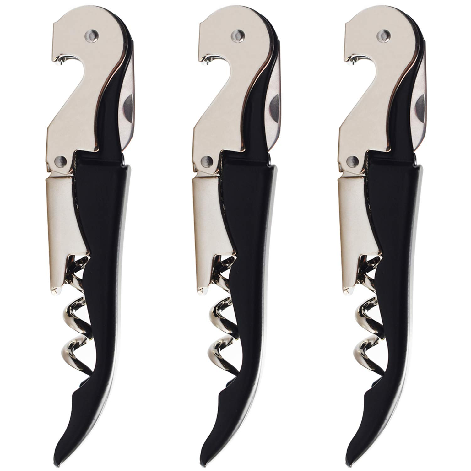 HYZ Twichan 3 Pack Waiter Corkscrew Upgraded Heavy Duty Wine Opener Set with Foil Cutter and Bottle Opener Wine Key for Restaurant Waiters, Sommelier, Bartenders and Wine Enthusiast Black by HYZ