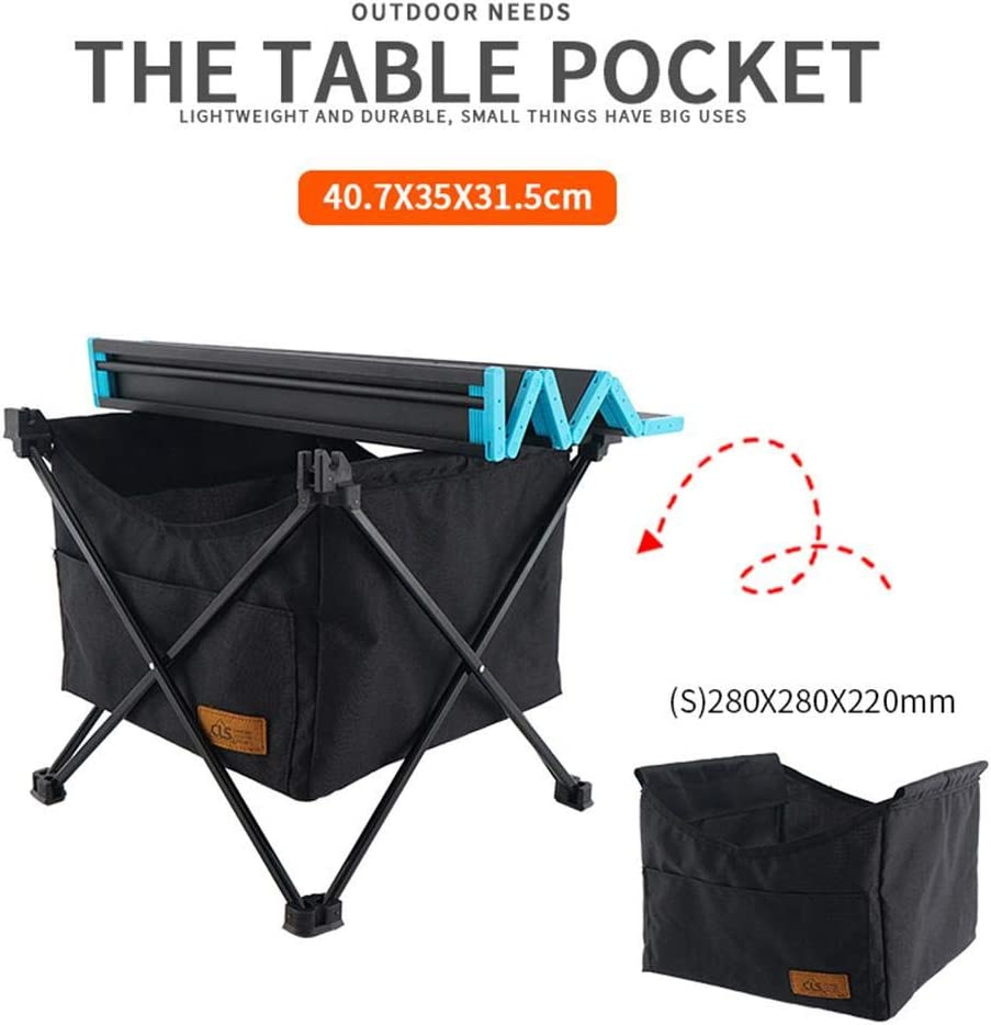 S//L N//Y Portable Camping Table with Storage Basket,Lightweight Outdoor Aluminum Alloy Folding Table with Carry Bag for Picnic Beach BBQ Festival Backyard