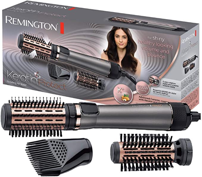 Remington Keratin Protect AS8810 - Moldeador de pelo y Cepillo Térmico, Cerámica, Keratina y Aceite de Almendra, 1000 W, Gris: Amazon.es: Salud y cuidado personal