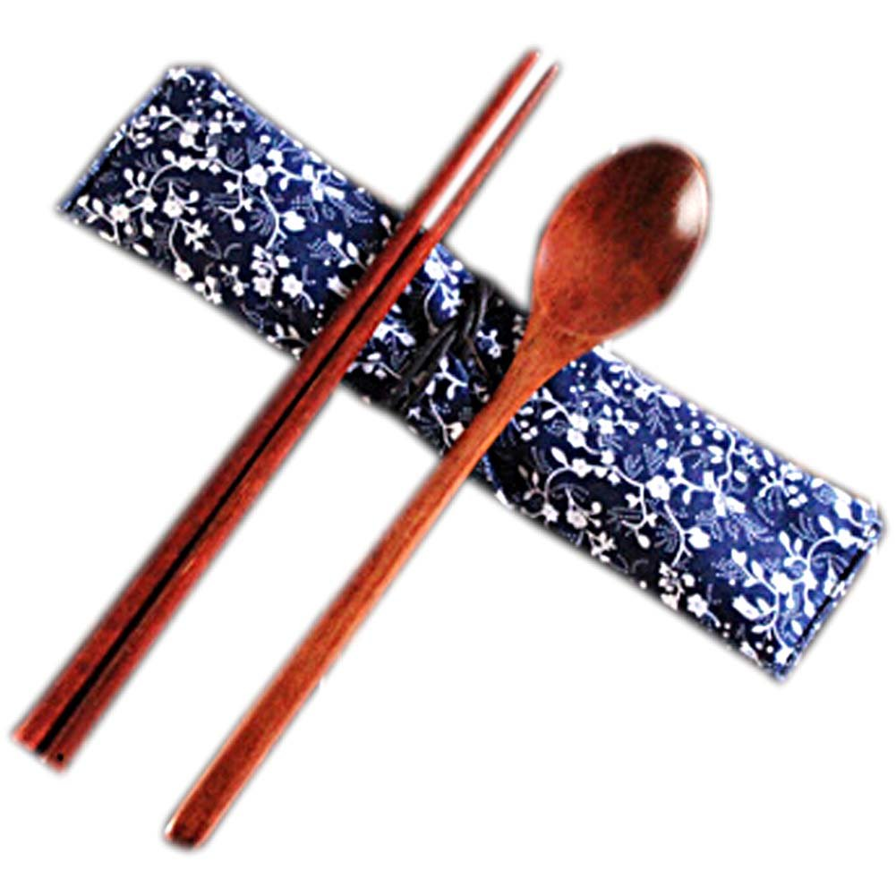 National Style Portable Tableware Wooden Spoon & Chopsticks(Wood Color) Blancho Bedding