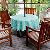 QIQIHOME 60'' (1.5M) Outdoor Tablecloth Waterproof Table Cloth Outdoor Tablecloth With Parasol Hole Umbrella Hole and Zipper (Turquoise, 60'' round)