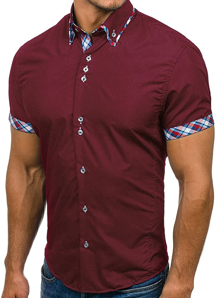 Hmlai Clearance Mens Shirt Short Sleeve Slim Fit Turn Down Collar Patchwork Solid Summer Basic T Shirt Top Blouse