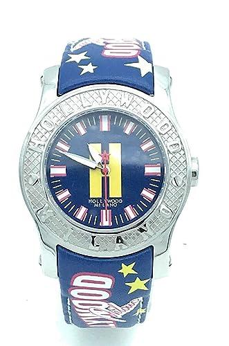 Hollywood Milano Reloj de Mujer con Correa de Piel Azul y Caja de Acero - HM.6271 m/01: Amazon.es: Relojes