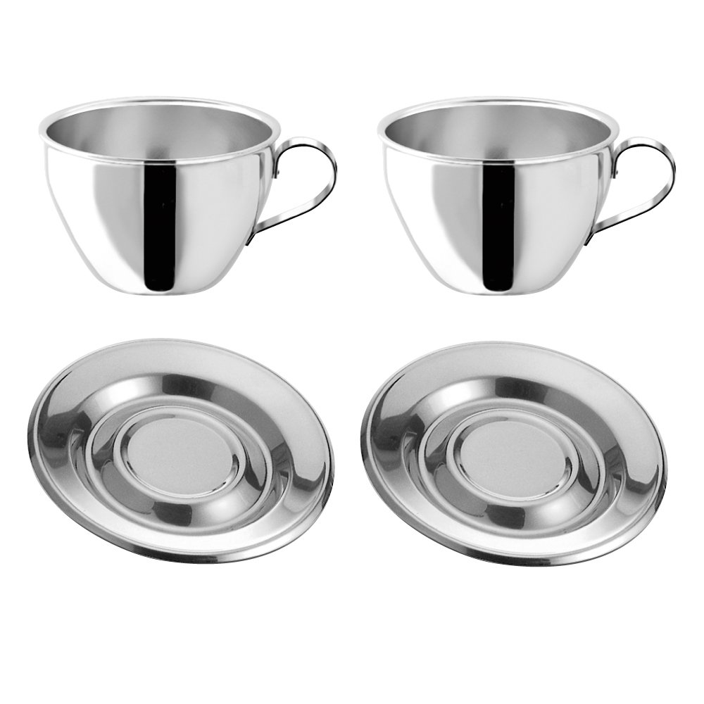 Motta Stainless Steel Cappuccino Cups and Saucers, Set of 2