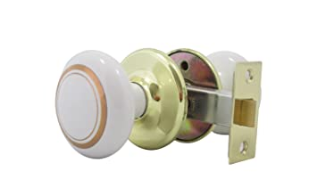 White Porcelain with Gold Rings & Polished Brass Door Knob, Solid ...