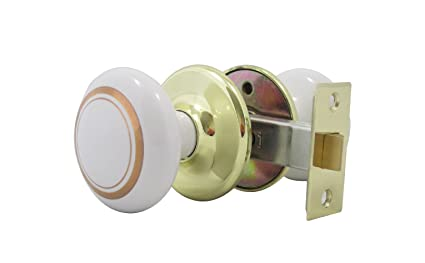 Perfect White Porcelain With Gold Rings U0026 Polished Brass Door Knob, Solid Elegant  Door Knob Set