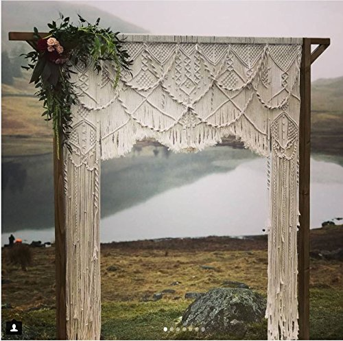 Macrame Wall Decor Hanging - Bohemian Home Geometric Art Decor - Beautiful Apartment Dorm Room Decoration-Macrame Curtain-Macrame Wedding Backdrop for Christmas & Holiday Decorations W 75