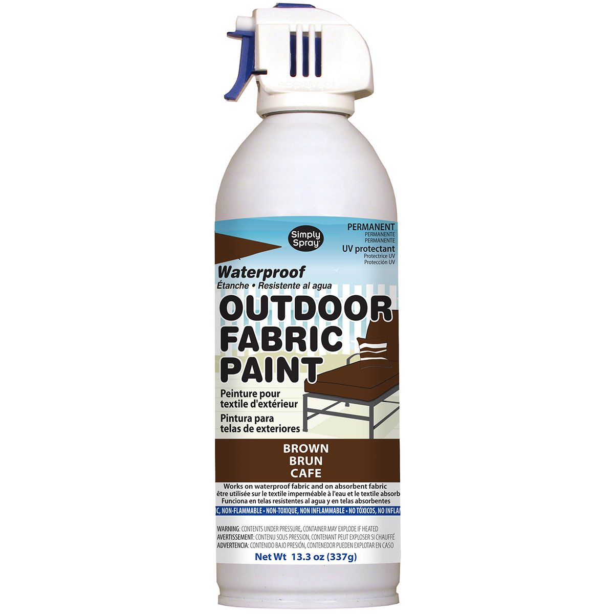 Deval Products OF0046002M Outdoor Spray Fabric Paint, 13.3 oz, Brown