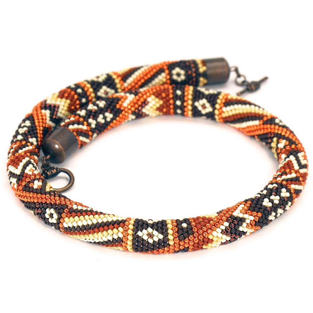 Amazon Brown Orange Seed Bead Necklace Rope African Bead