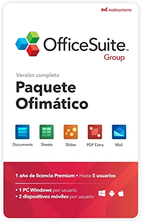 OfficeSuite Group Compatible con Office Word® Excel® y PowerPoint® y PDF para PC Windows 10 8.1 8 7 - Licencia de 1 año, 5 usuarios: Amazon.es: Software