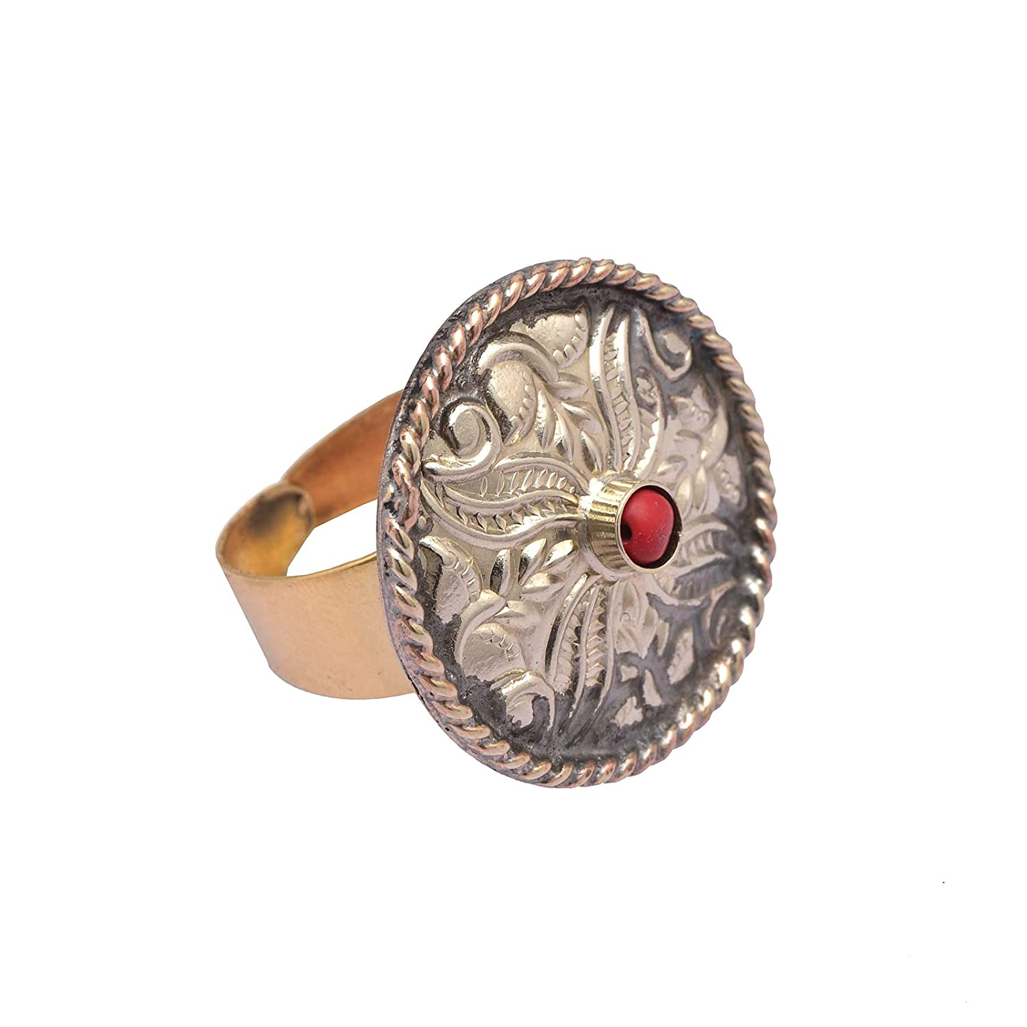 Zephyrr Ring Carved Oxidized Finish Silver Metal Red Stone Beaded Adjustable JR-82
