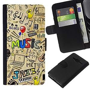 LECELL--Cuero de la tarjeta la carpeta del tirón Smartphone Slots Protección Holder For Samsung Galaxy Core Prime -- PATRÓN DE JAZZ MÚSICA --