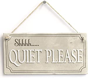 Shhhh. Quiet Please - Rustic Hanging Library Home Decor Sign 10x5 inch(25x12.5 cm)