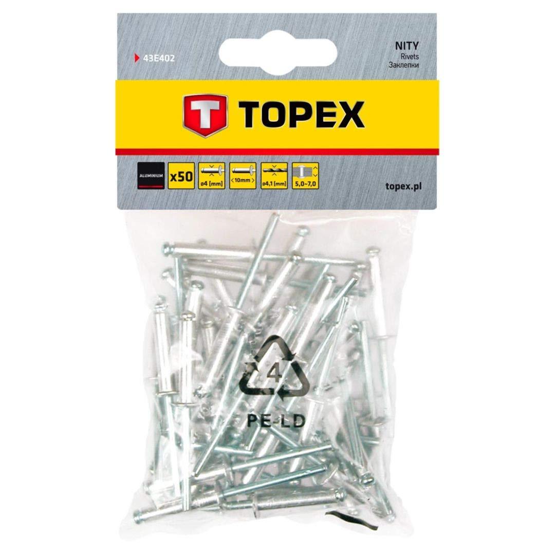 Remaches de aluminio 4 0 mm x 10 mm 50 pza Topex Topex 43E402