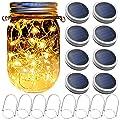 Yitee Mason Jar Hanging Lantern Lights,Fairy Firefly Jar Lights,Rustic Wooden Panel Mason Jar Sconces for Garden Wall Decor