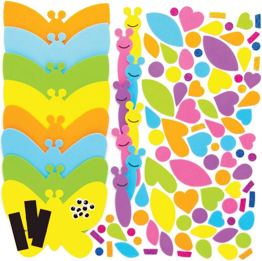 Baker Ross AT879 Butterfly Mix and Match Magnet Kits Assorted for Kids Arts and Crafts Projects Pack of 8