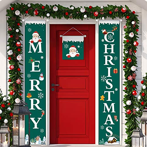 3 Pieces Merry Welcome Christmas Buffalo Checker Plaid Red Green Porch Banners Front Door Sign Joy Hanging Christmas Decorations for Home Wall Indoor Outdoor Holiday Party Favors (Color 3) (Decorating Porch Indoor)